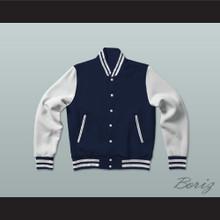 Dark Blue and White Varsity Letterman Jacket-Style Sweatshirt
