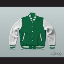 Green and White Varsity Letterman Jacket-Style Sweatshirt