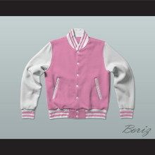 Pink and White Varsity Letterman Jacket-Style Sweatshirt