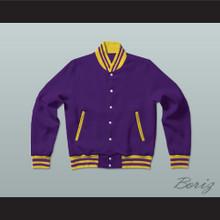 Purple and Yellow Varsity Letterman Jacket-Style Sweatshirt