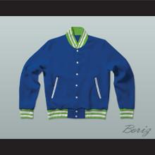 Blue, Lime Green, and White Varsity Letterman Jacket-Style Sweatshirt