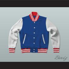 Blue, White and Red Varsity Letterman Jacket-Style Sweatshirt