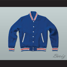 Blue, White, and Red Varsity Letterman Jacket-Style Sweatshirt