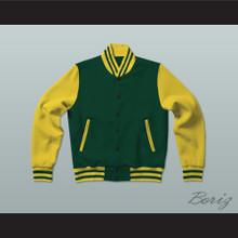 Dark Green and Yellow Varsity Letterman Jacket-Style Sweatshirt