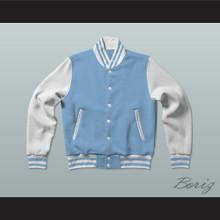 Sky Blue and White Varsity Letterman Jacket-Style Sweatshirt