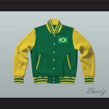 Brazil Varsity Letterman Jacket-Style Sweatshirt