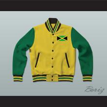 Jamaica Yellow Varsity Letterman Jacket-Style Sweatshirt