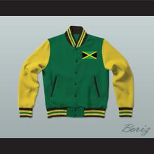 Jamaica Green Varsity Letterman Jacket-Style Sweatshirt