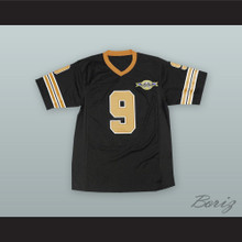 Bobby Boucher 9 Mud Dogs Black Football Jersey with Bourbon Bowl Patch
