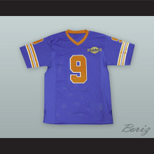 Bobby Boucher 9 Mud Dogs Blue Football Jersey with Bourbon Bowl Patch
