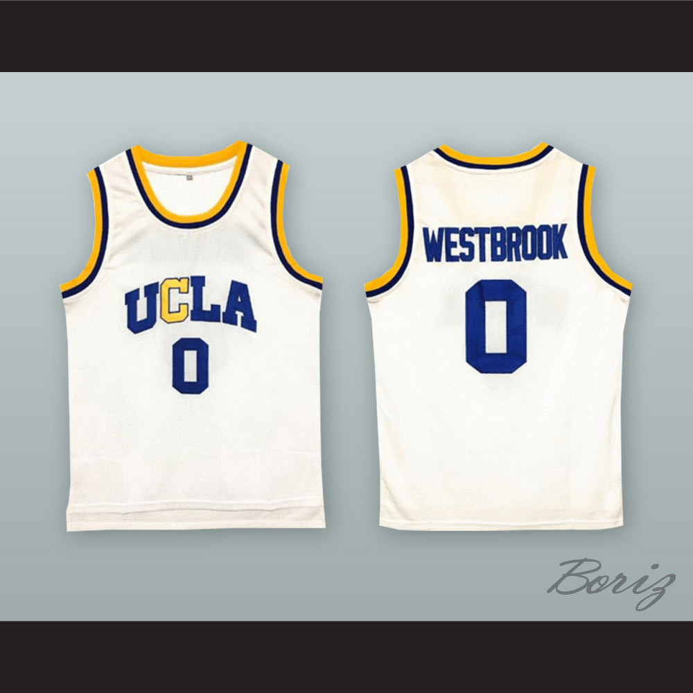 wholesale dealer 778da d8d9f Russell Westbrook 0 UCLA White Basketball Jersey