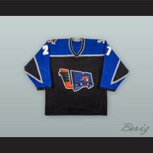 Eric Castonguay 27 Lewiston MAINEiacs Black Hockey Jersey