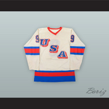 Neal Broten 9 Team USA White Hockey Jersey
