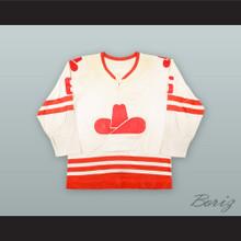 1975-76 WHA Francois Lacombe 6 Calgary Cowboys White Hockey Jersey