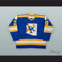 1976-77 WHA Blair Davidson 28 Phoenix Roadrunners Blue Hockey Jersey