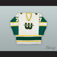 1978 WHA Gordie Roberts 7 New England Whalers White Hockey Jersey