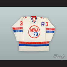 1978-79 WHA Barry Long 3 WHA All Star Game White Hockey Jersey