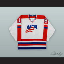 Lane McDonald 19 Team USA White Hockey Jersey