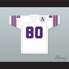 1974 WFL Steve Barrios 80 Birmingham Americans Home Football Jersey with Patch
