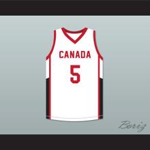 R.J. Barrett 5 Canada White Basketball Jersey