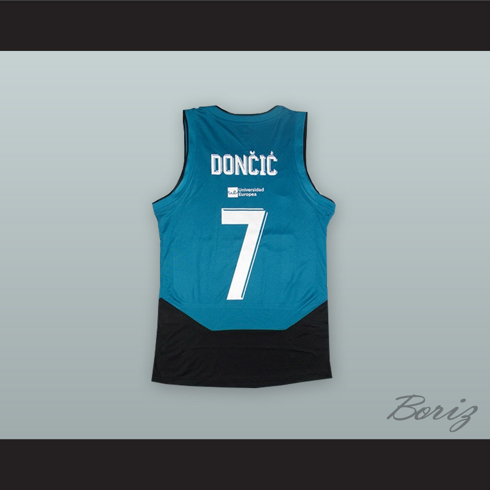 separation shoes a168b f8077 Luka Doncic 7 Real Madrid Teal/Black Basketball Jersey