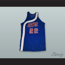 Utah Moses Malone 22 Blue Basketball Jersey Stitch Sewn