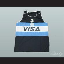 Manu Ginobili 5 Argentina Basketball Jersey Stitch Sewn