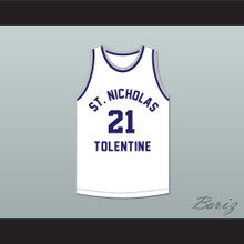 Malik Sealy 21 St. Nicholas of Tolentine High School White Basketball Jersey