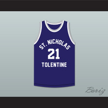 Malik Sealy 21 St. Nicholas of Tolentine High School Navy Blue Basketball Jersey