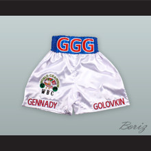 Gennady 'Triple G' Golovkin White Boxing Shorts with Embroidered WBC Champion Patch