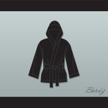 Floyd 'Money' Mayweather Jr Black Satin Half Boxing Robe with Hood