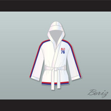 Muhammad Ali 76 White Satin Half Boxing Robe with Hood