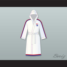 Muhammad Ali 76 White Satin Full Boxing Robe with Hood