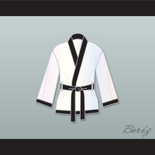 Muhammad Ali White and Black Satin Half Boxing Robe