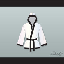Muhammad Ali White and Black Satin Half Boxing Robe with Hood