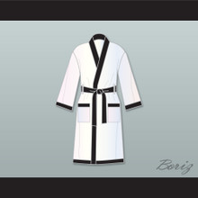 Muhammad Ali White and Black Satin Full Boxing Robe