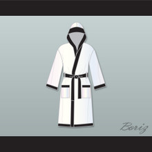 Muhammad Ali White and Black Satin Full Boxing Robe with Hood