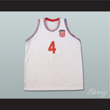 Drazen Petrovic Croatia White Basketball Jersey