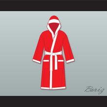Muhammad Ali Red and White Satin Full Boxing Robe with Hood