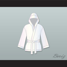 Muhammad Ali White Satin Half Boxing Robe with Hood