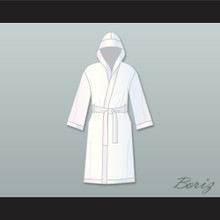 Muhammad Ali White Satin Full Boxing Robe with Hood
