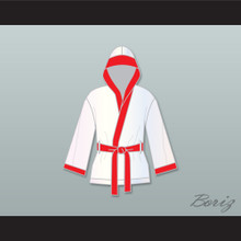 Riddick 'Big Daddy' Bowe White Satin Half Boxing Robe with Hood