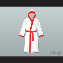 Riddick 'Big Daddy' Bowe White Satin Full Boxing Robe with Hood