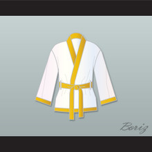 Roberto 'Hands of Stone' Duran White and Gold Satin Half Boxing Robe