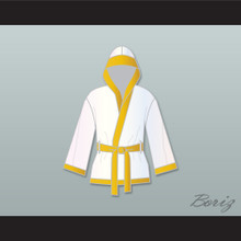 Roberto 'Hands of Stone' Duran White and Gold Satin Half Boxing Robe with Hood