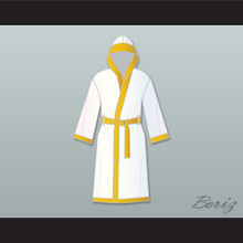 Roberto 'Hands of Stone' Duran White and Gold Satin Full Boxing Robe with Hood