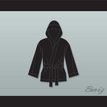 Sugar Ray Leonard Black Satin Half Boxing Robe with Hood