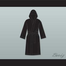 Sugar Ray Leonard Black Satin Full Boxing Robe with Hood