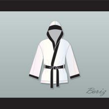 Rubin 'Hurricane' Carter White Satin Half Boxing Robe with Hood