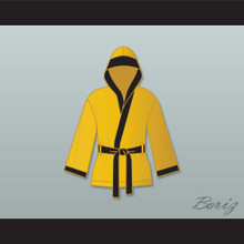 Evander 'Real Deal' Holyfield Gold Satin Half Boxing Robe with Hood